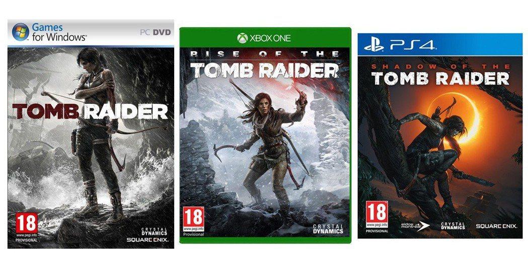 新生古墓奇兵三部曲的遊戲封面。