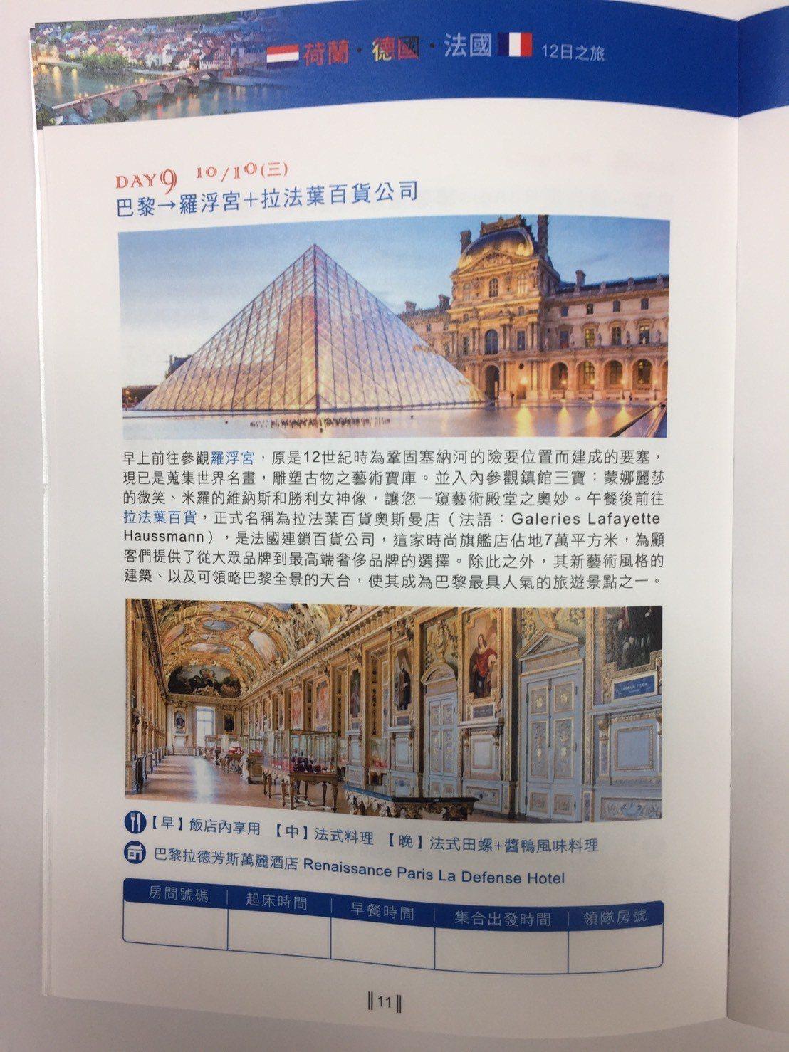 法國參訪羅浮宮及拉法葉百貨即佔一天行程。記者莊琇閔/翻攝