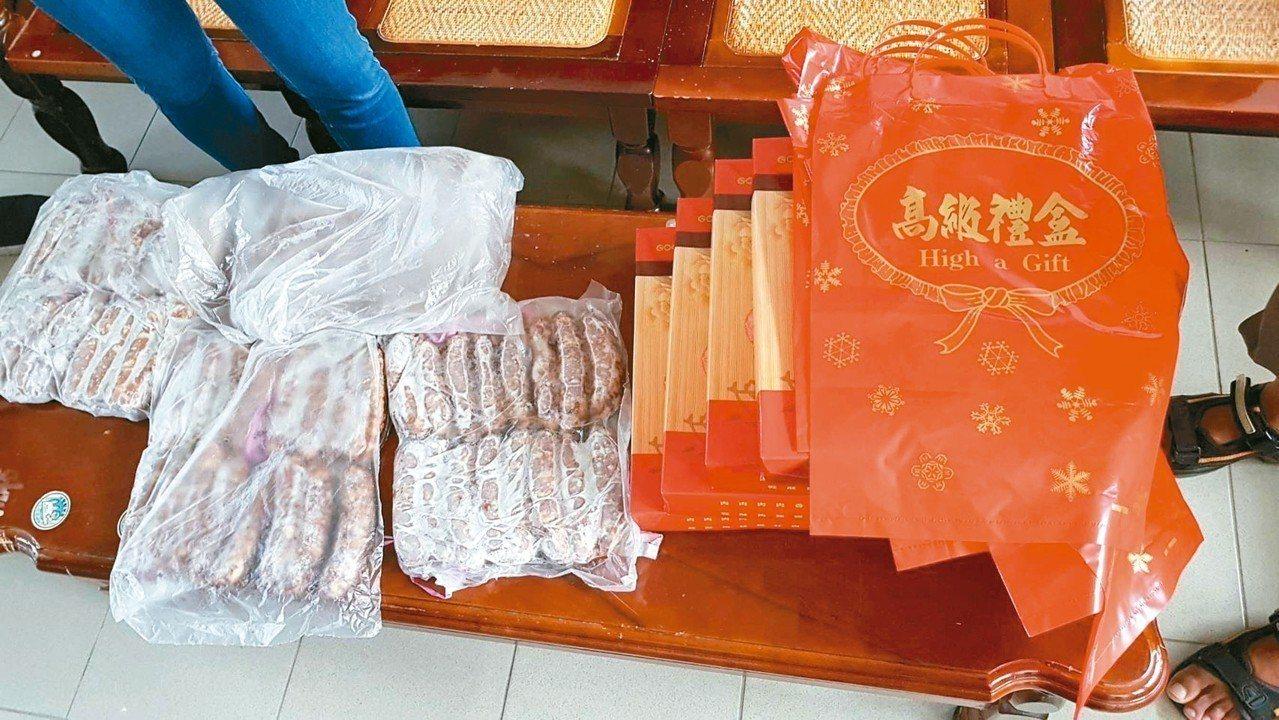 嘉義縣水上鄉某村長參選人送香腸禮盒給21名村民。 記者姜宜菁/翻攝