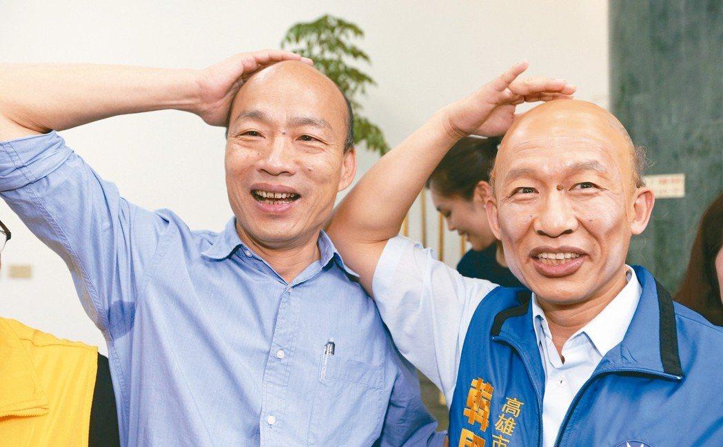 韓國瑜(左)與郭子乾(右)相似度破表。記者劉學聖/攝影