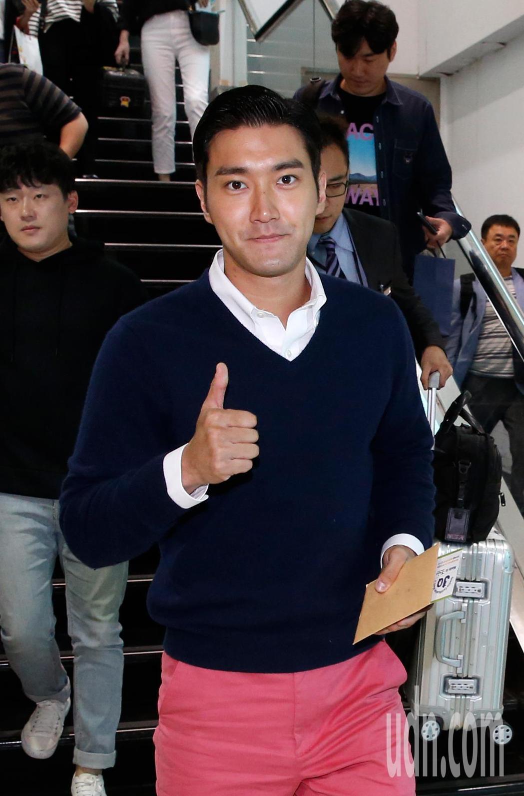 韓團Super Junior的崔始源中午離台。記者鄭超文/攝影