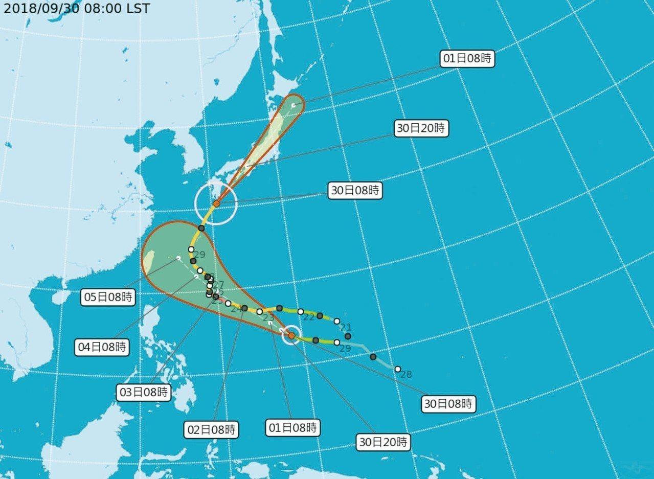 潭美(上),康芮(下)颱風路徑潛勢預測圖。 擷取自氣象局官網