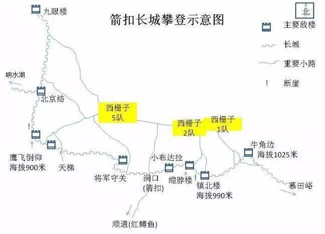 北京箭扣長城的大致示意圖。 圖/取自網路