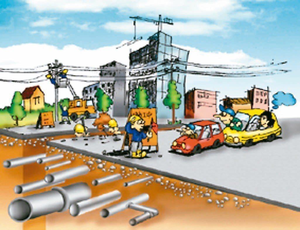 傳統管線埋設及維修方式。 圖/摘自內政部營建署網站