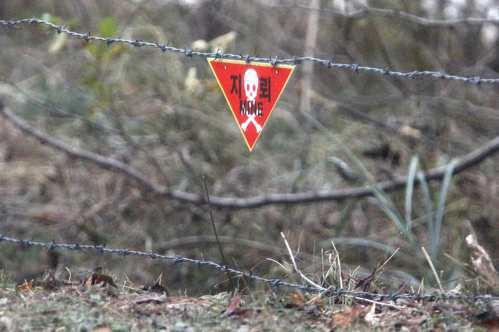 南北韓非軍事區的圍籬上掛著一面標誌警告前方是地雷區。 路透