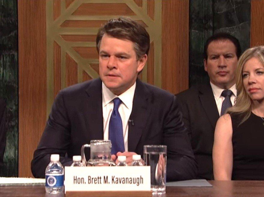 美國影星麥特戴蒙 (Matt Damon)誇大模仿大法官提名人卡瓦諾(Brett