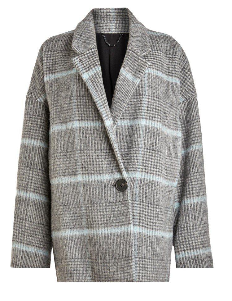 AllSaints女裝Simi格紋大衣,15,400元。圖/AllSaints提...