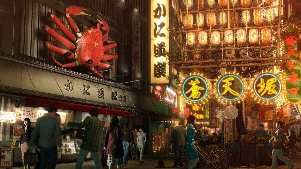 蒼天堀是以大阪道頓堀為模板設計,連知名店家螃蟹道樂都完美還原。