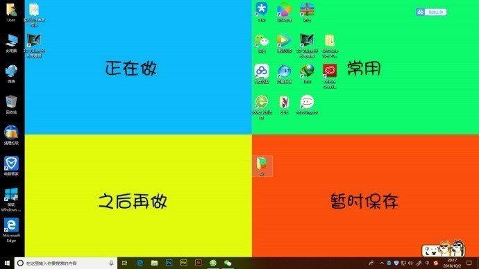 大陸網友效仿自製的四象限桌布。 圖擷自guanggoo.com