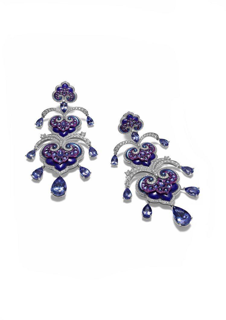 La Parisienne 耳環,18K白金與鈦金鑲嵌12.5克拉青金石、梨形切...