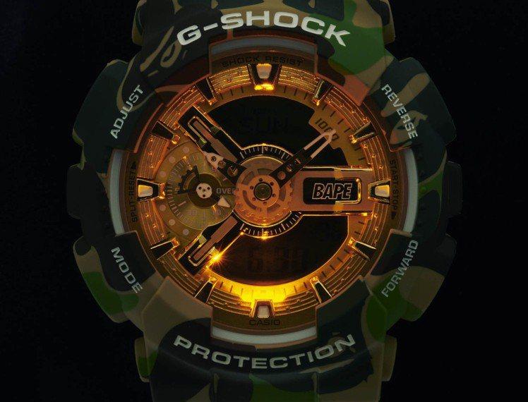 採用了琥珀色的照明,讓GA-110APE腕表的金色表盤更加亮眼。圖/CASIO提...