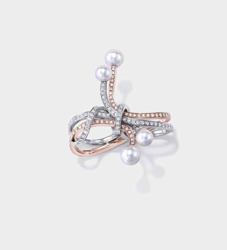 TASAKI Atelier 系列珠光Nacreous 鑽石珍珠雙指戒,77萬2...