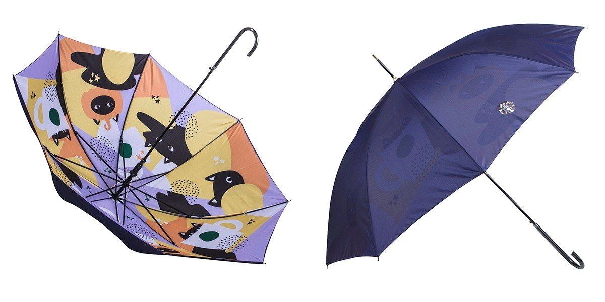 黑貓派對雨傘,售價1,280元,長90cm。圖/星巴克提供