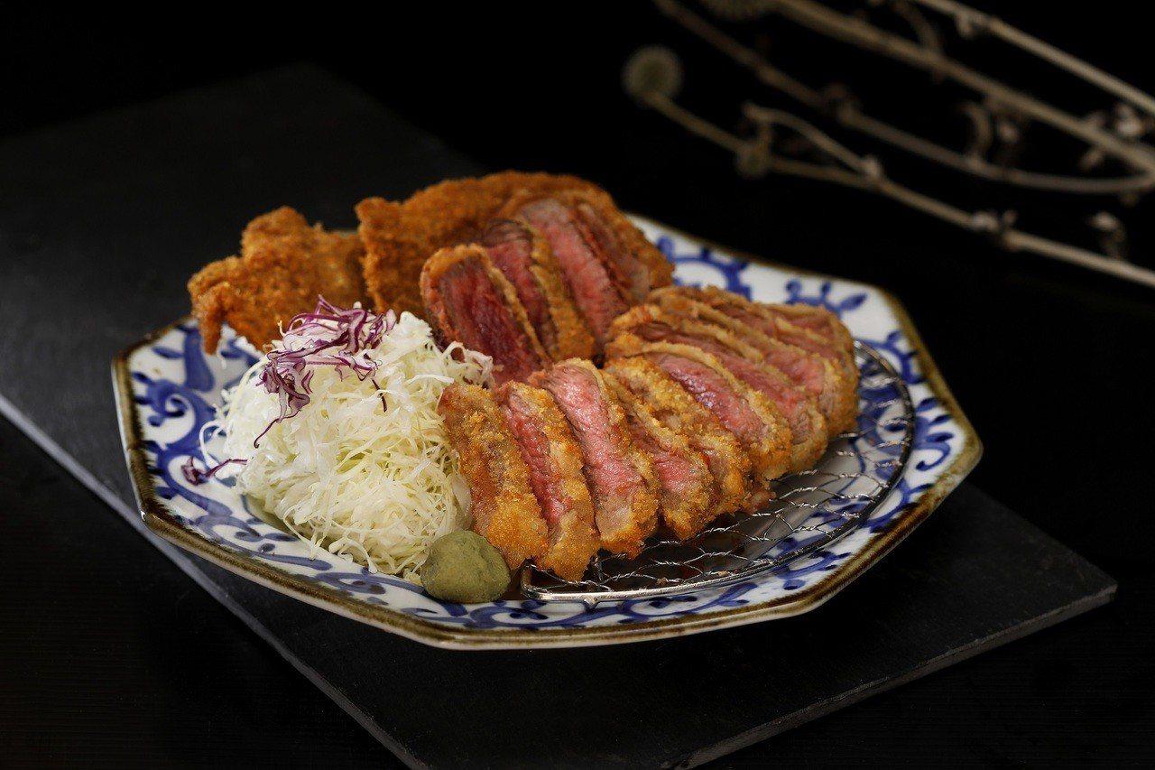 一次可吃到炸翼板、厚切菲力與薄切牛酱的京都勝牛三味,售價480元。圖/王座國際餐...