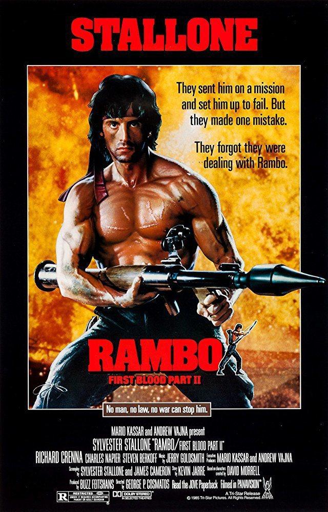 「第一滴血續集」樹立了「藍波」在觀眾心目中的健壯猛男形象。圖/摘自imdb