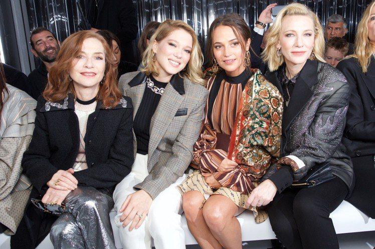 伊莎貝雨蓓、蕾雅瑟杜、艾莉西亞薇坎德、凱特布蘭琪等女星都是路易威登秀上嘉賓。圖/...