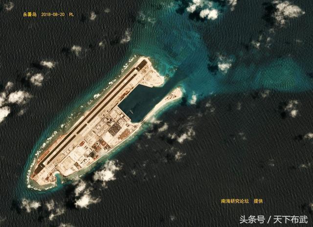 永暑島目前的衛星空照圖。 圖/取自網路
