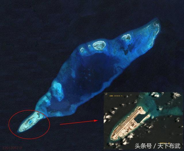 南海目前的永暑島只是位於圖中的西南角,未來全面造成大永暑島後,將形成高達108平...