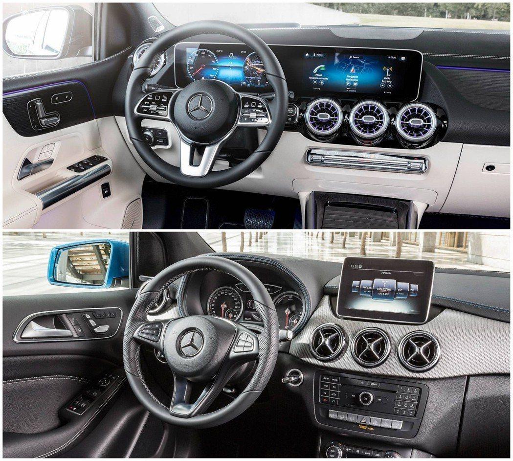 上圖:改款後 下圖:改款前 內裝風格配置。 摘自Mercedes