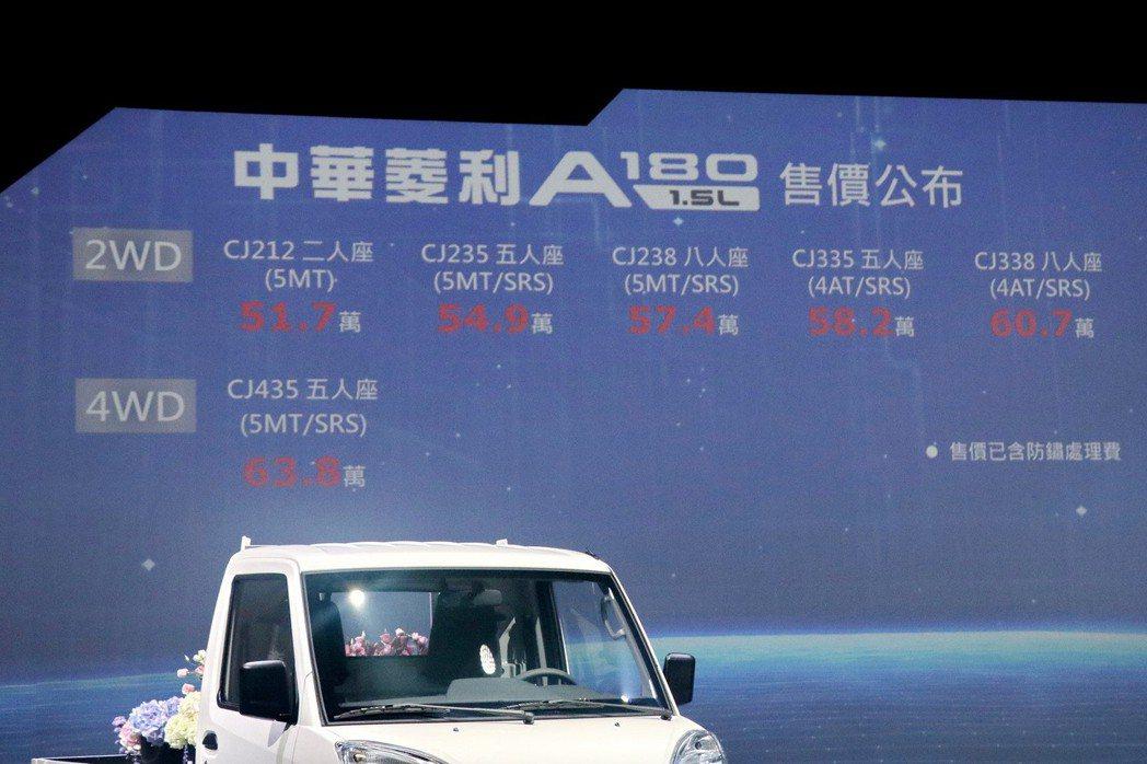 中華菱利A180售價。 記者陳威任/攝影