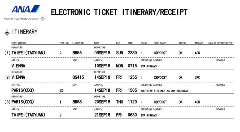使用ANA哩程計畫,所兌換的台北前往歐洲商務艙機票 圖文來自於:TripPlus