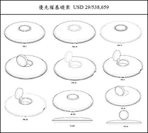 圖5:Apple的設計專利申請案之基礎案有多設計標的