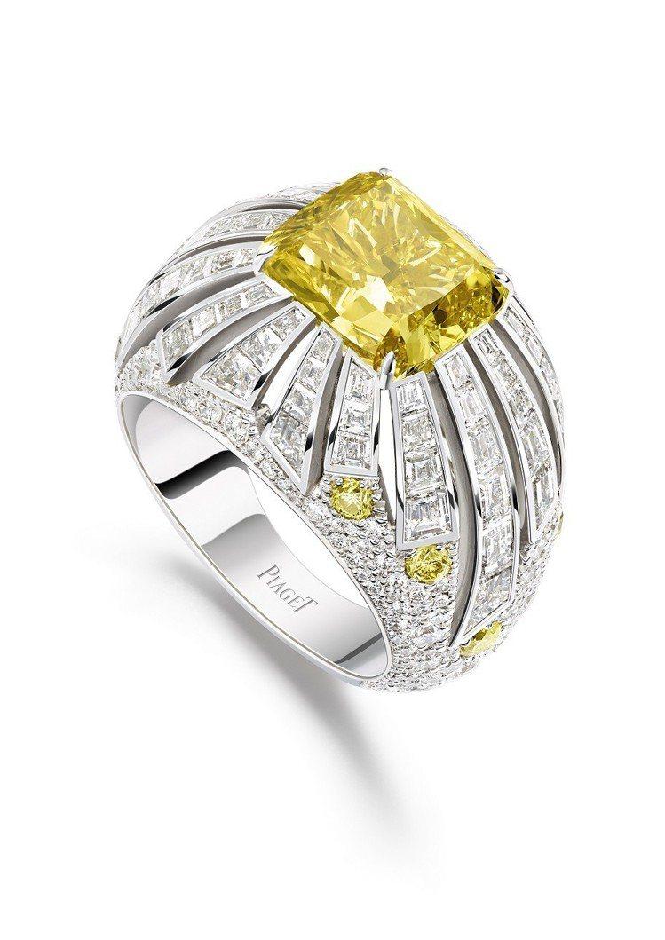 Sunlight Escape系列指環,18K白金鑲嵌1顆枕形切割豔彩黃鑽(約4...