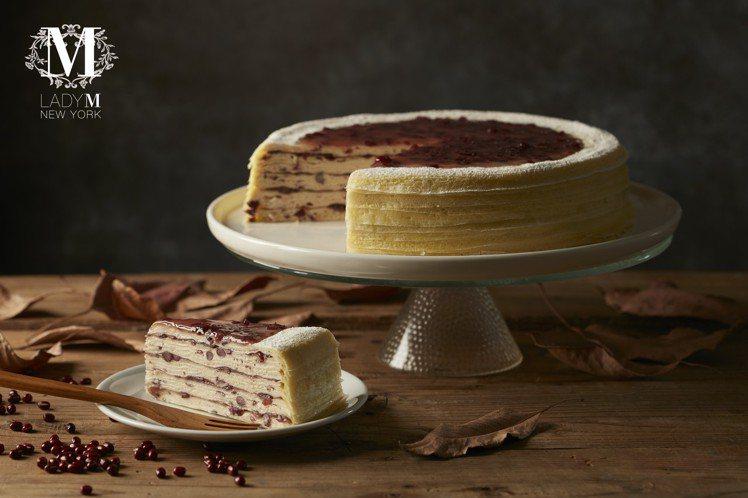 紅豆千層蛋糕,單片280元,九吋2,800元。圖/LadyM提供