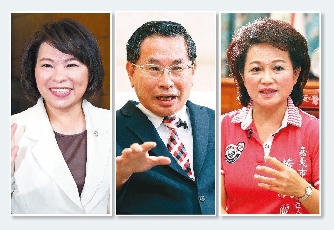 嘉義市長選舉緊繃,根據本報最新民調顯示,國民黨參選人黃敏惠(左圖起)的支持度暫時...