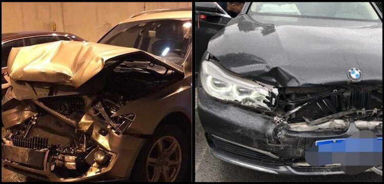 豪華車隊最後變成豪華車禍。圖片來源/中新網