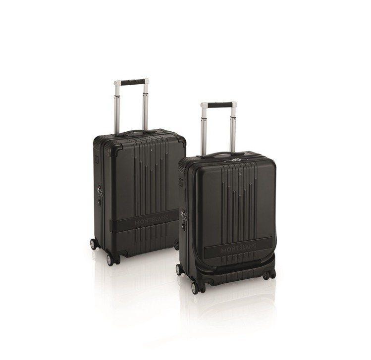 (由左至右)萬寶龍#MY4810 黑色4輪登機箱,21,700元;黑色4輪附前袋...