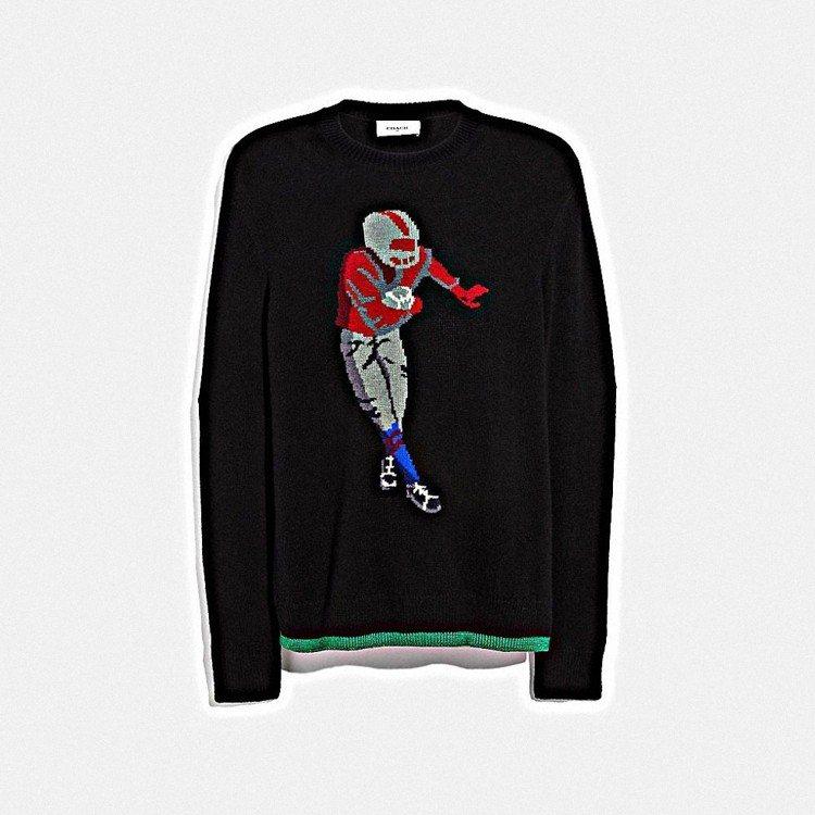 橄欖球圖樣毛衣,售價16,800元。圖/COACH提供