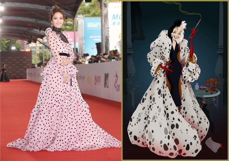 侯佩岑金鐘服裝被指很像「庫伊拉」。圖/記者陳立凱攝影、擷自推特