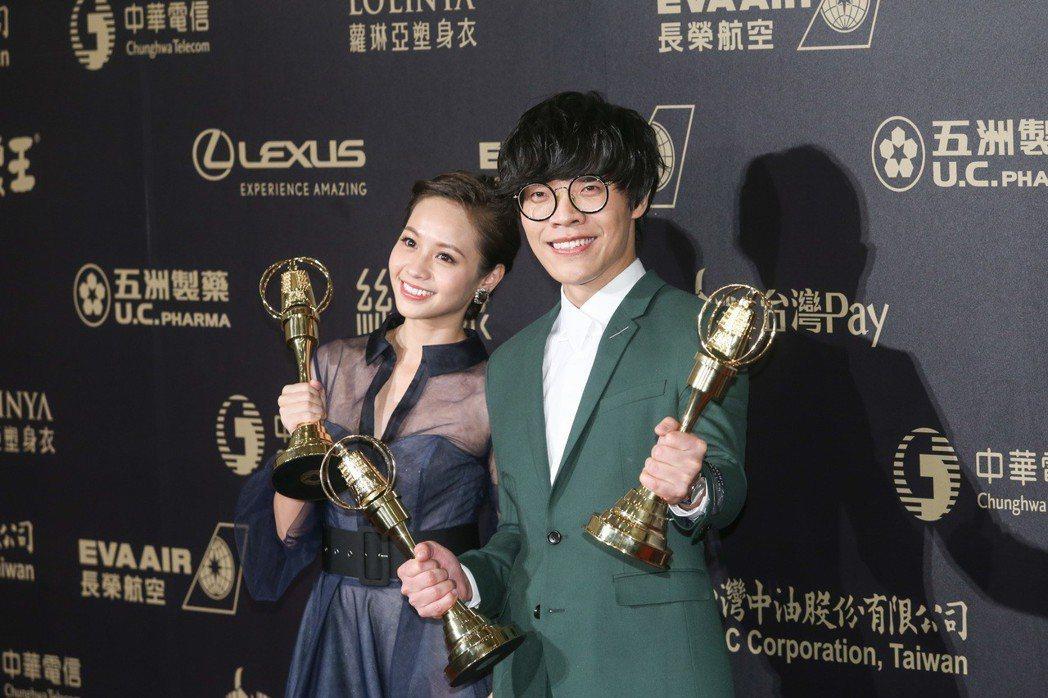 盧廣仲(右)與黃姵嘉(左)獲戲劇節目男、女主角獎,黃姵嘉獲戲劇節目女主角獎。記者...