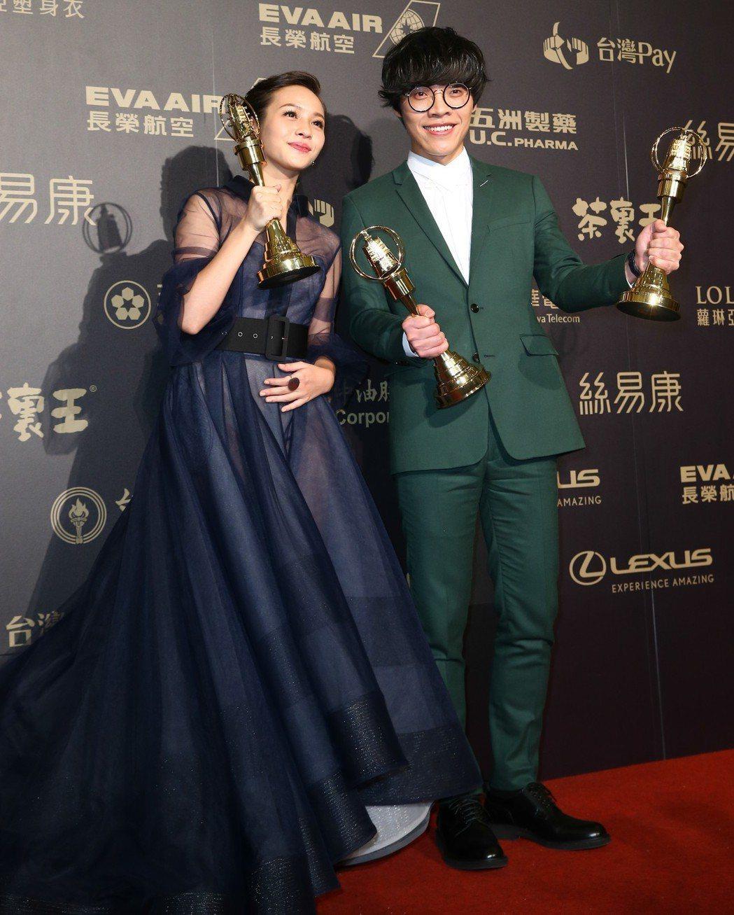 第五十三屆金鐘獎,影帝盧廣仲(右)、影后黃姵嘉。記者王騰毅/攝影