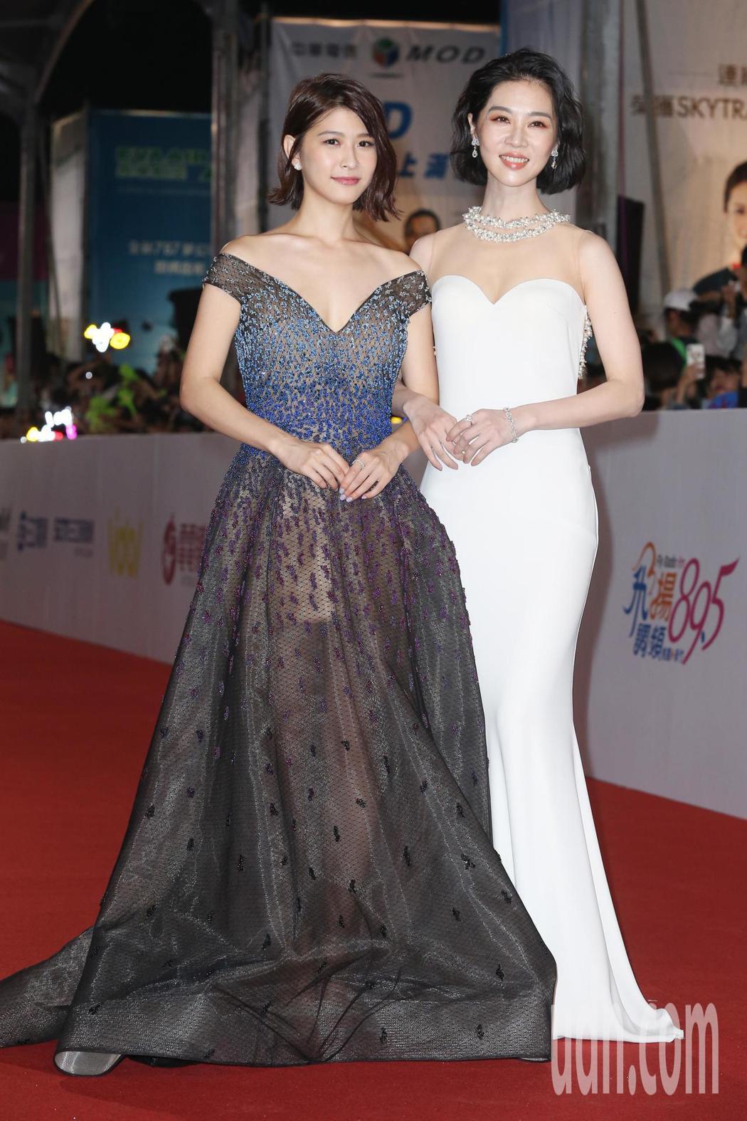 第五十三屆金鐘獎,謝盈萱(右)、江沂宸走星光大道。記者陳立凱/攝影