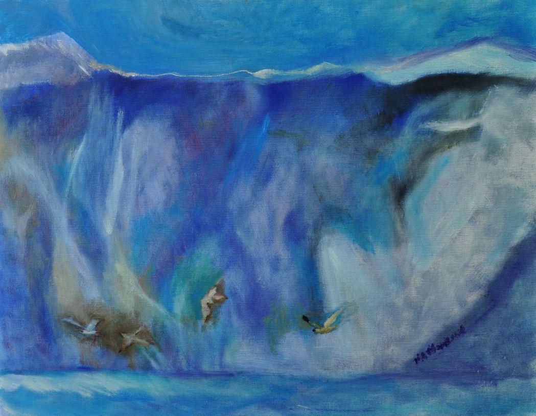 造訪阿拉斯加前後(圖)的作品,繪圖的風格感受明顯不同。 圖╱張天鈞提供