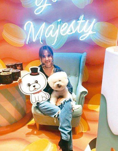 蔡依林昨帶著愛犬屋虎出席翻糖蛋糕實體店快閃活動。 圖╱摘自IG