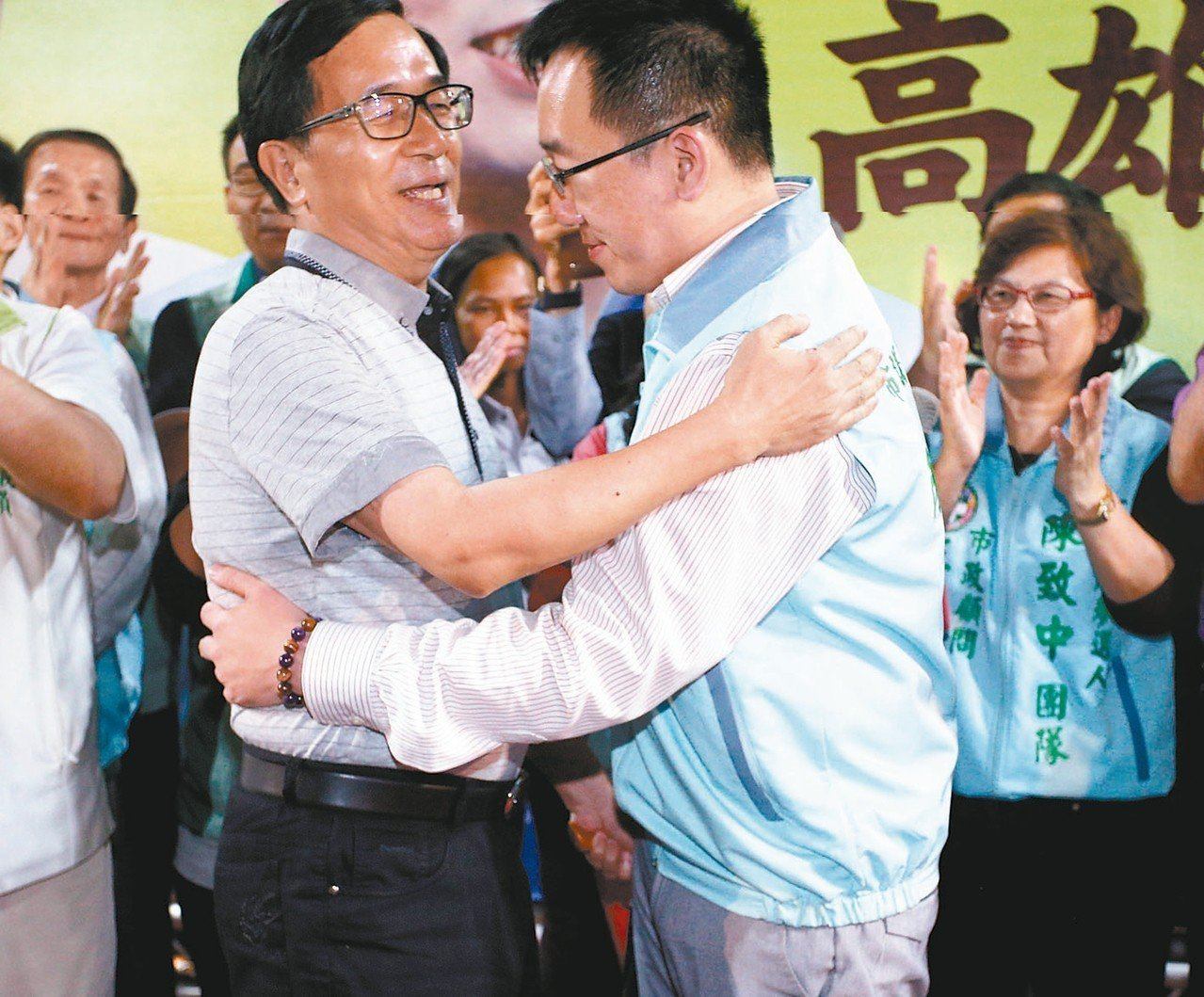 前總統陳水扁(左)挑戰中監底線,他預告將為陳致中(右)站台造勢。 圖/聯合報系資...