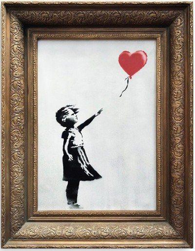 「汽球女孩」是班克西2006年所畫作品。 圖/取自蘇富比官網