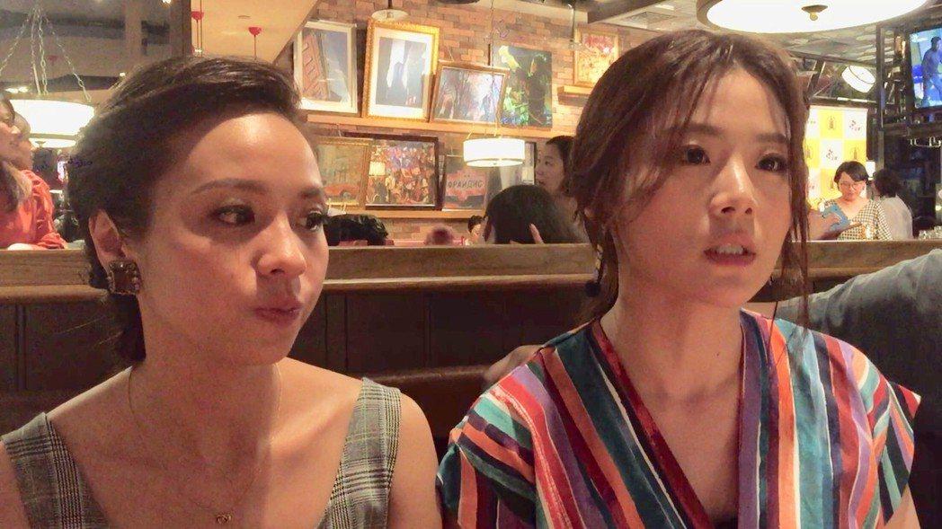 黃姵嘉(左)、楊小黎拿下金鐘獎戲劇節目女主角、女配角。記者陳慧貞/攝影
