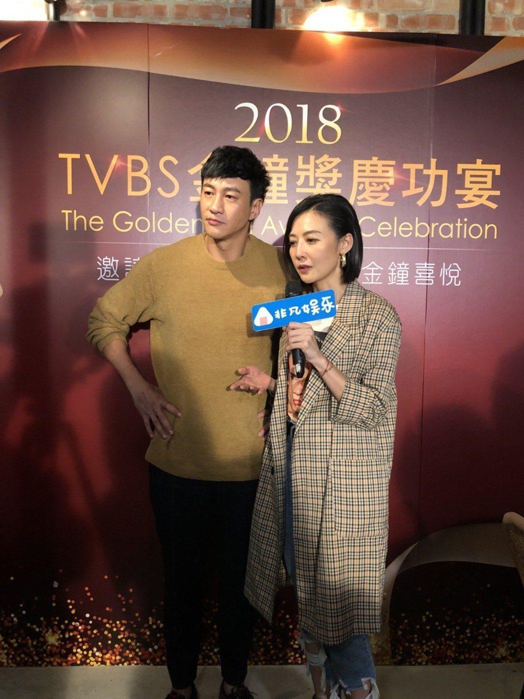 何潤東(左)與老婆Peggy出席慶功。記者楊起鳳/攝影