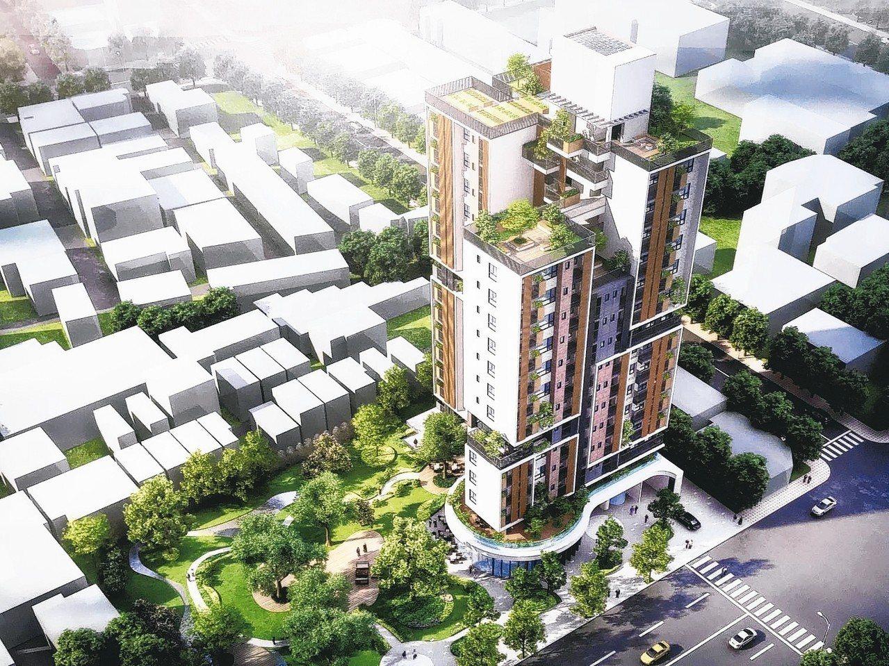 台中社宅強調綠化,有大面積的綠地與周邊的社區分享。 記者洪敬浤/翻攝