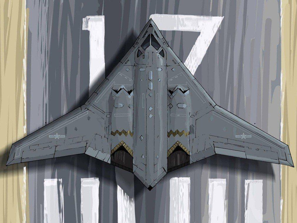 央視報導,轟-20轟炸機可進行洲際飛行。 圖/侏羅紀航空繪畫