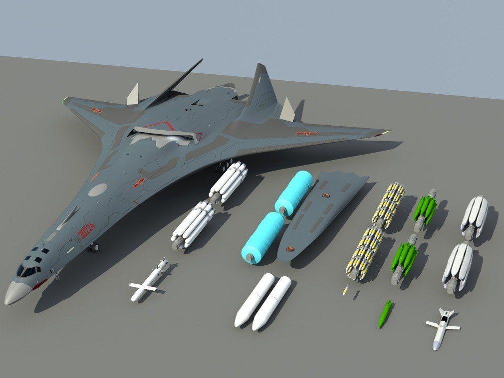 轟-20可搭載多種武器,既有炸彈也有巡航導彈。 圖/取自飛揚軍事論壇