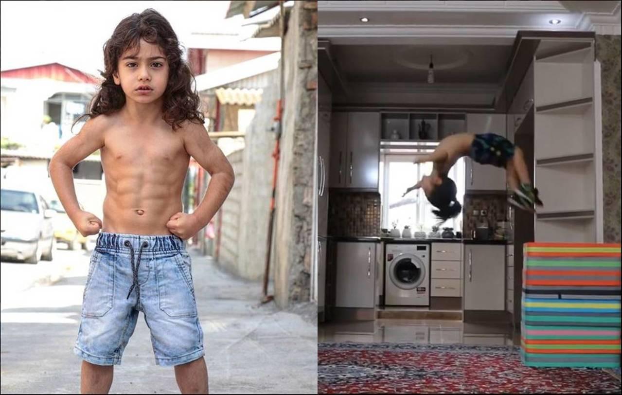 伊朗一名年僅5歲的男童,不僅足球、體操、拳擊等運動皆精通,還擁有精實的6塊腹肌,...