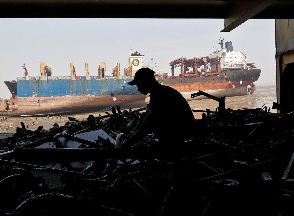 資料圖片:古吉拉特邦的拆船廠。 圖/路透社