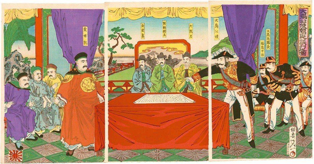 圖1:袁世凱威風凜凜的出現在〈大鳥公使韓庭談判之圖〉,渡辺延一畫,1894年。