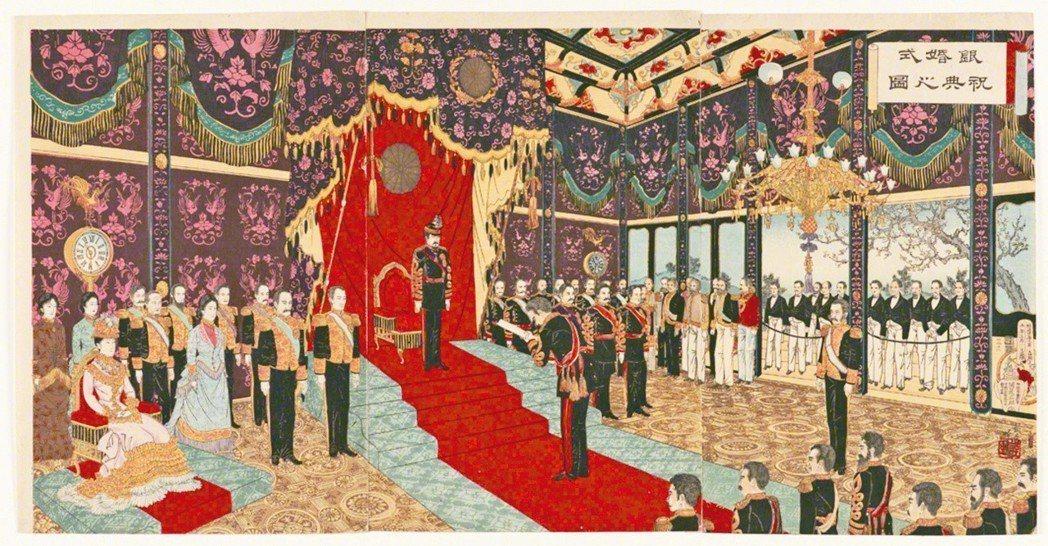 圖3:明治天皇〈銀婚式祝典之圖〉,安達吟光畫,1894年。