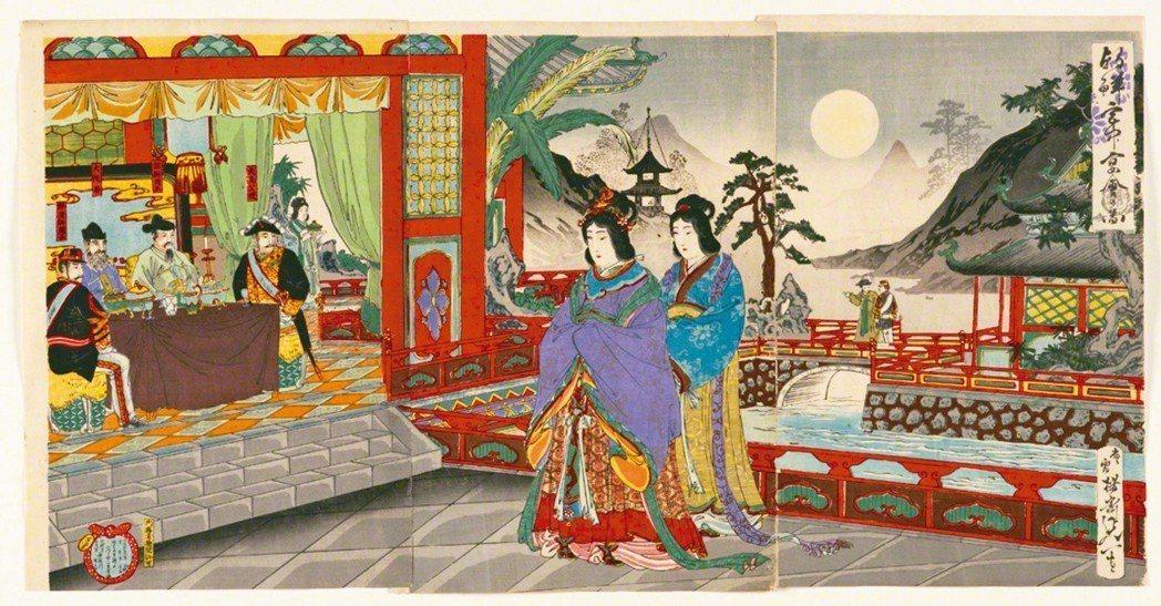 圖4:大鳥公使又出現在〈朝鮮宮中宴會之圖〉,渡辺延一畫,1894年。
